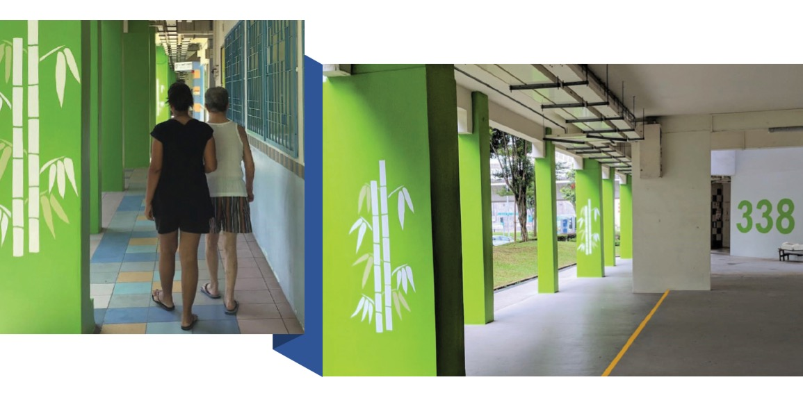 The temporary wayfinding prototype at Block 388, Bukit Batok Street 34 by CPG as part of the study. Image credit: Innovative Planning & Design of Age-Friendly Neighbourhoods in Singapore.