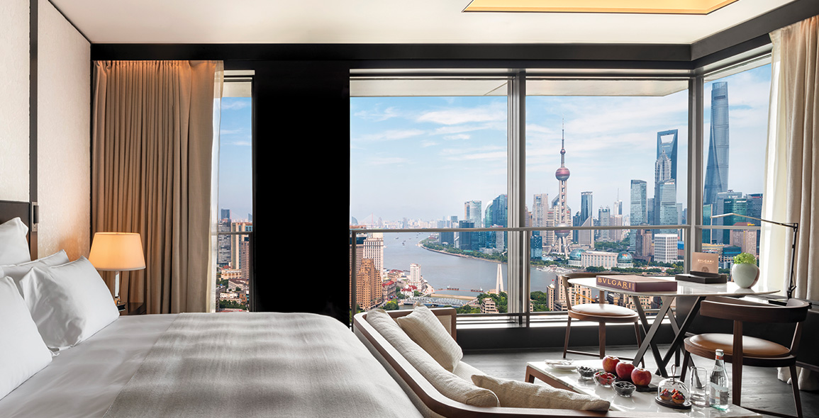 Floor-to-ceiling windows in the rooms offer spectacular views of the Bund, one of the most recognisable symbols of Shanghai.