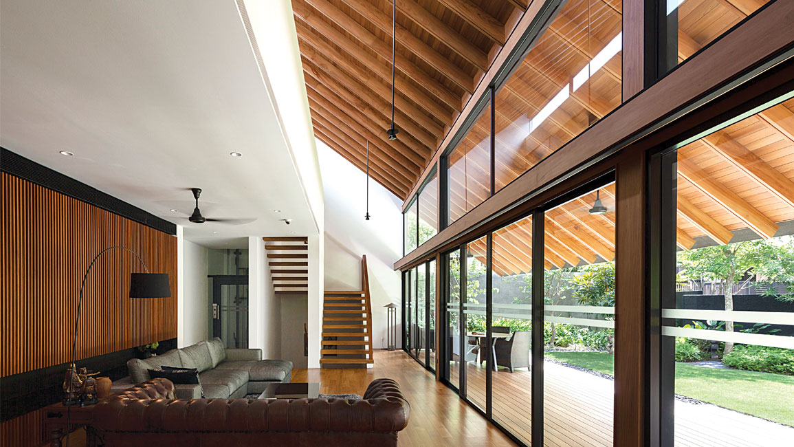 Much thought has been given to the design details. For instance, full-height glass windows at the living area allows the roof beams to be fully appreciated from both interior and exterior.