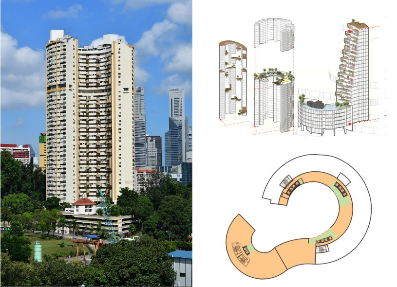 Fig. 5 – Pearl Bank proposal to retain some of the existing structure before and after (Source: The Straits Times, LAUD Architects)