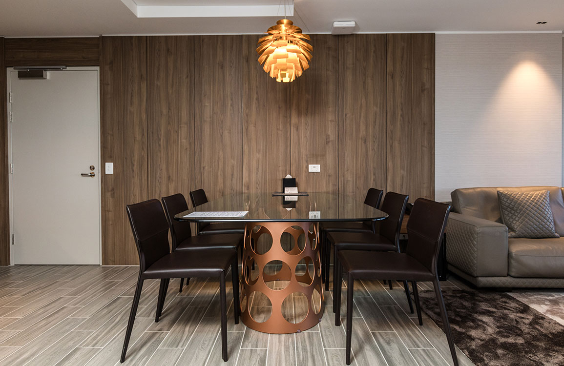 Jean dining table from Porada complement chairs from Airnova's Maryl collection