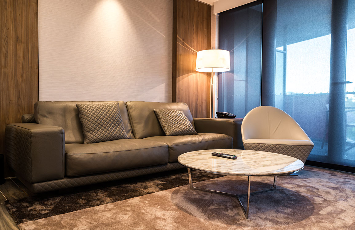Lof's interior Diamond sofa and Coco swivel chair and the coffee table from Alivar Harpa
