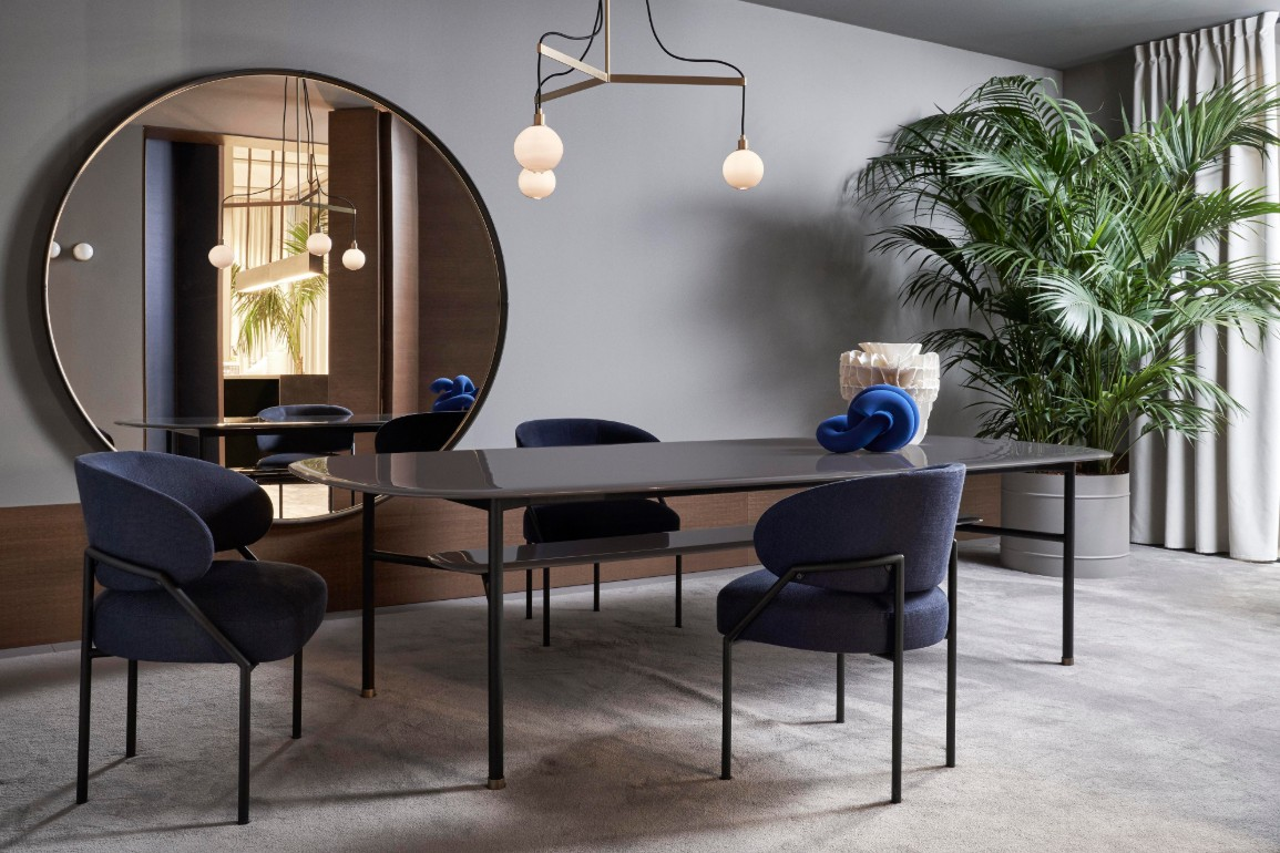 Hubert dining table and Isetta chair