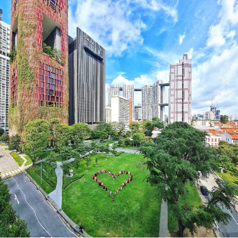 The human heart on the DTP Community Green during NDP 2020